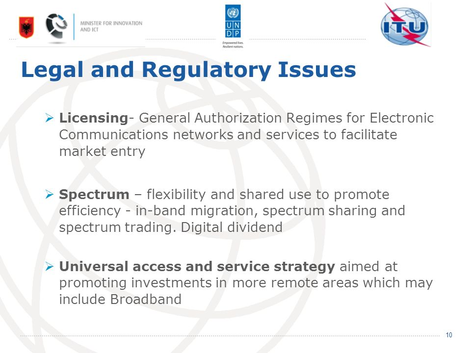 Legal and Regulatory Issues Licensing- General Authorization Regimes for Electronic Communications networks and services to facilitate market entry Spectrum – flexibility and shared use to promote efficiency - in-band migration, spectrum sharing and spectrum trading.