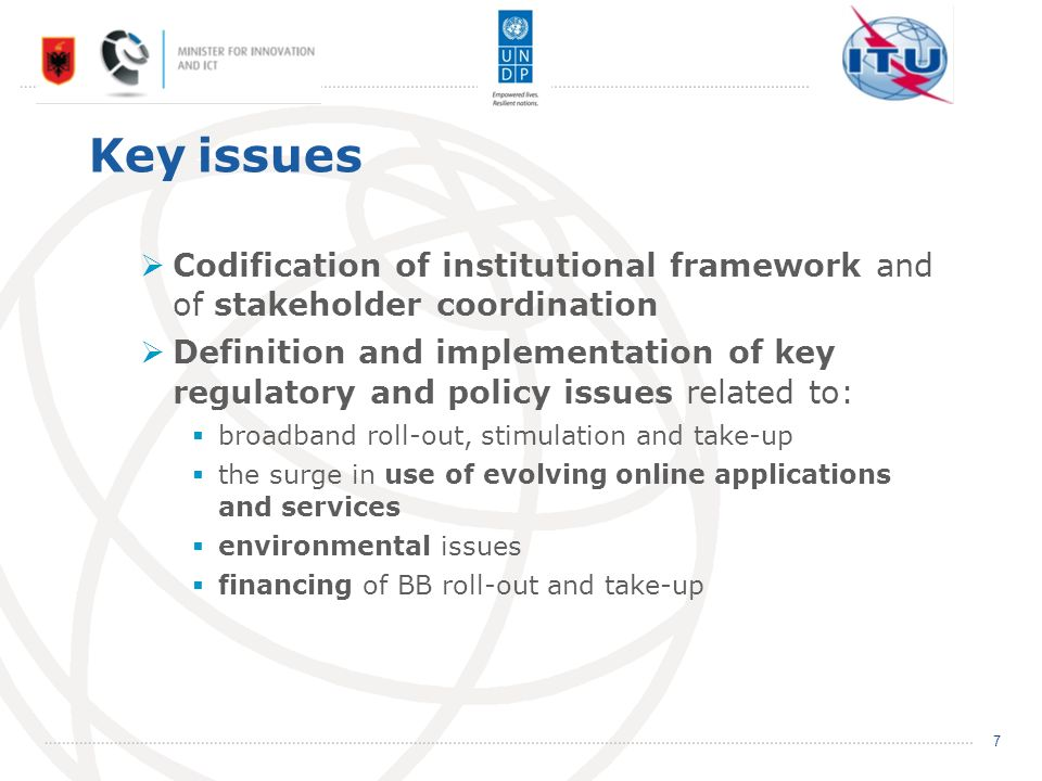 Key issues Codification of institutional framework and of stakeholder coordination Definition and implementation of key regulatory and policy issues related to: broadband roll-out, stimulation and take-up the surge in use of evolving online applications and services environmental issues financing of BB roll-out and take-up 7