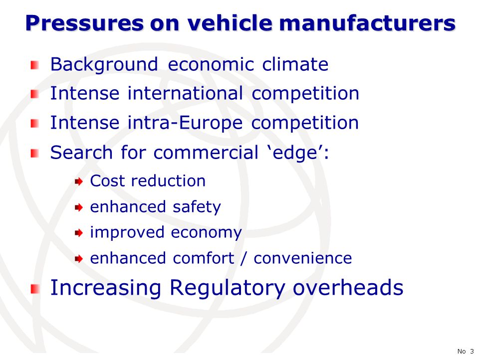 International Telecommunication Union No 3 Pressures on vehicle manufacturers Background economic climate Intense international competition Intense intra-Europe competition Search for commercial edge: Cost reduction enhanced safety improved economy enhanced comfort / convenience Increasing Regulatory overheads