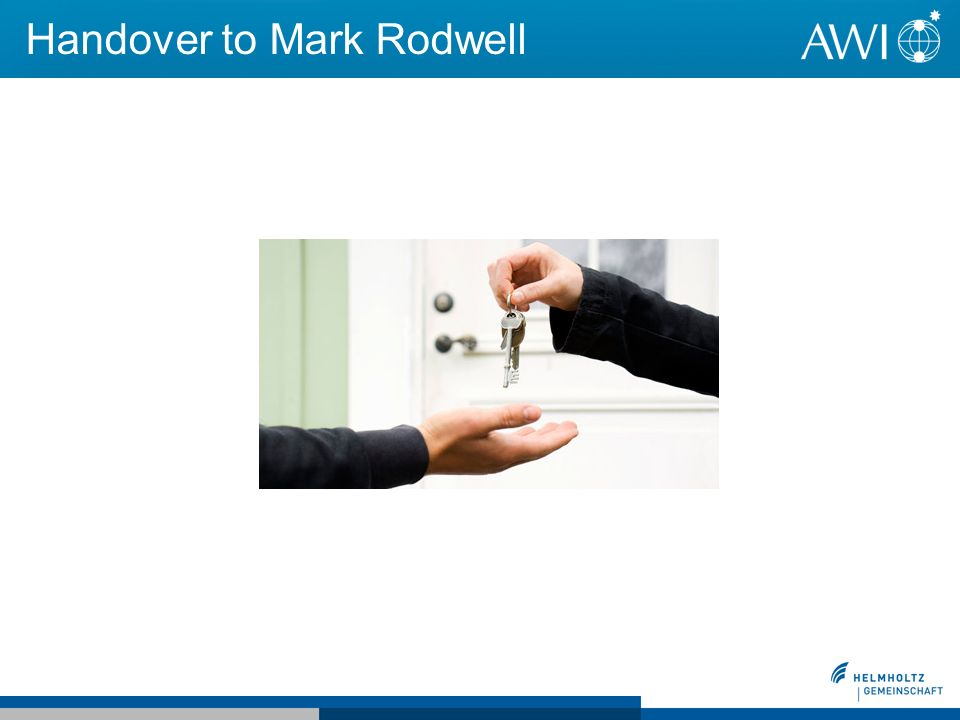 Handover to Mark Rodwell