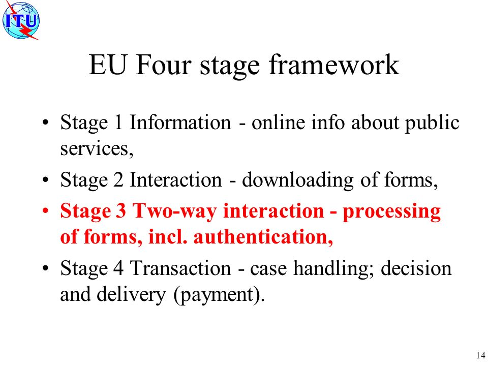 14 EU Four stage framework Stage 1 Information - online info about public services, Stage 2 Interaction - downloading of forms, Stage 3 Two-way interaction - processing of forms, incl.