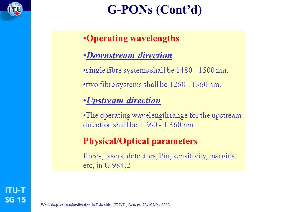ITU-T SG 15 Workshop on standardization in E-health – ITU-T, Geneva, 23-25 May 2003 G-PONs (Contd) Operating wavelengths Downstream direction single fibre systems shall be 1480 1500 nm.
