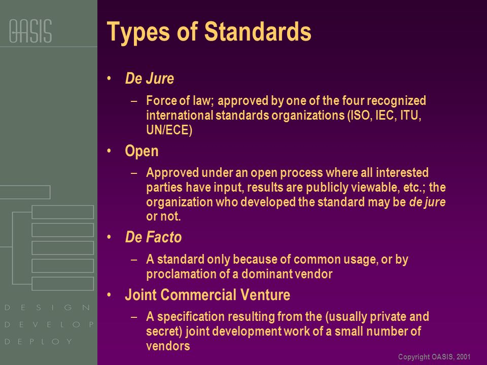 Copyright OASIS, 2001 De Jure – Force of law; approved by one of the four recognized international standards organizations (ISO, IEC, ITU, UN/ECE) Open – Approved under an open process where all interested parties have input, results are publicly viewable, etc.; the organization who developed the standard may be de jure or not.