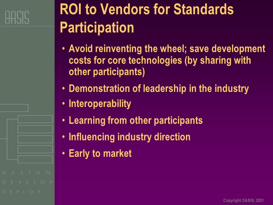 Copyright OASIS, 2001 ROI to Vendors for Standards Participation Avoid reinventing the wheel; save development costs for core technologies (by sharing with other participants) Demonstration of leadership in the industry Interoperability Learning from other participants Influencing industry direction Early to market