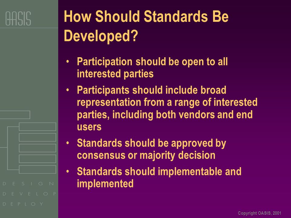 Copyright OASIS, 2001 How Should Standards Be Developed.
