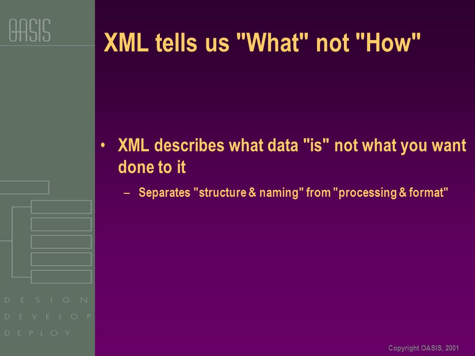 Copyright OASIS, 2001 XML tells us What not How XML describes what data is not what you want done to it – Separates structure & naming from processing & format