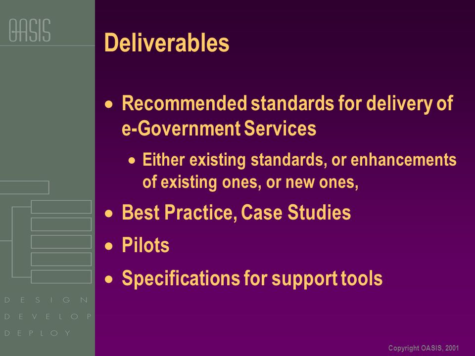 Copyright OASIS, 2001 Deliverables Recommended standards for delivery of e-Government Services Either existing standards, or enhancements of existing ones, or new ones, Best Practice, Case Studies Pilots Specifications for support tools