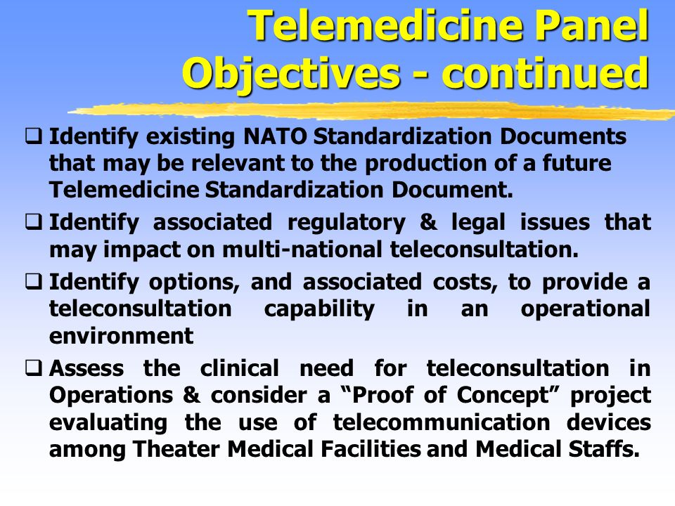 Identify existing NATO Standardization Documents that may be relevant to the production of a future Telemedicine Standardization Document.