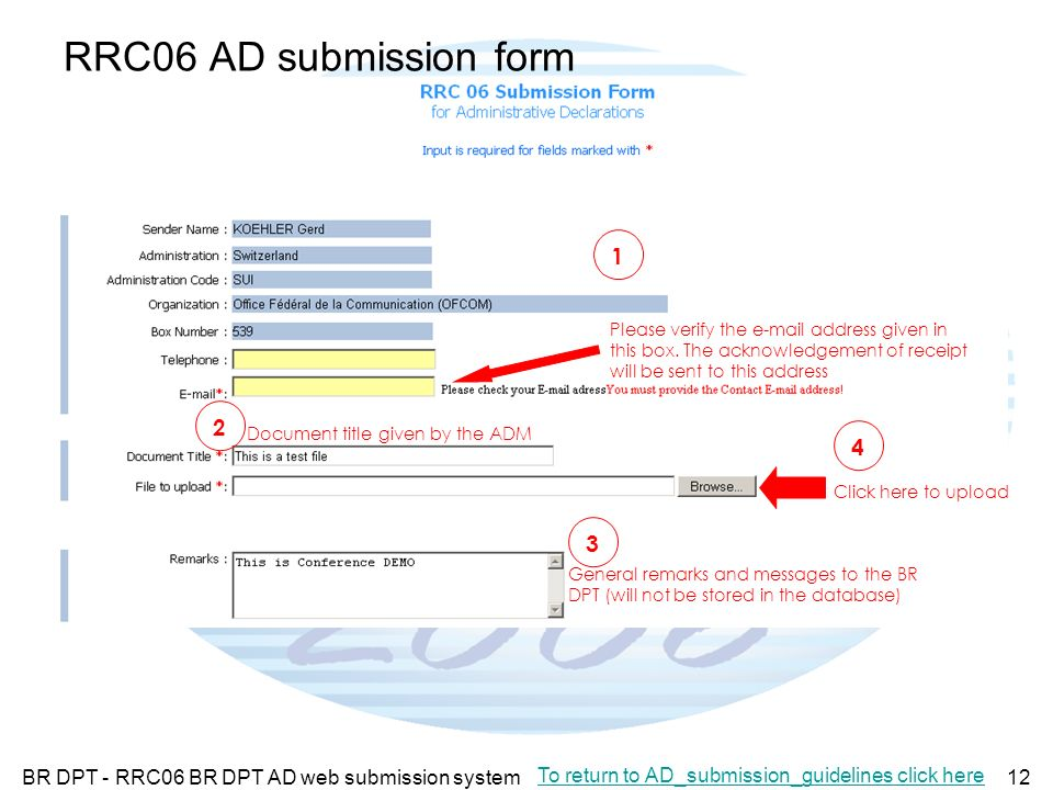 BR DPT - RRC06 BR DPT AD web submission system12 RRC06 AD submission form Please verify the e-mail address given in this box.