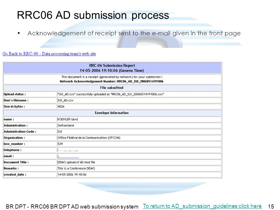 BR DPT - RRC06 BR DPT AD web submission system15 RRC06 AD submission process Acknowledgement of receipt sent to the e-mail given in the front page To return to AD_submission_guidelines click here
