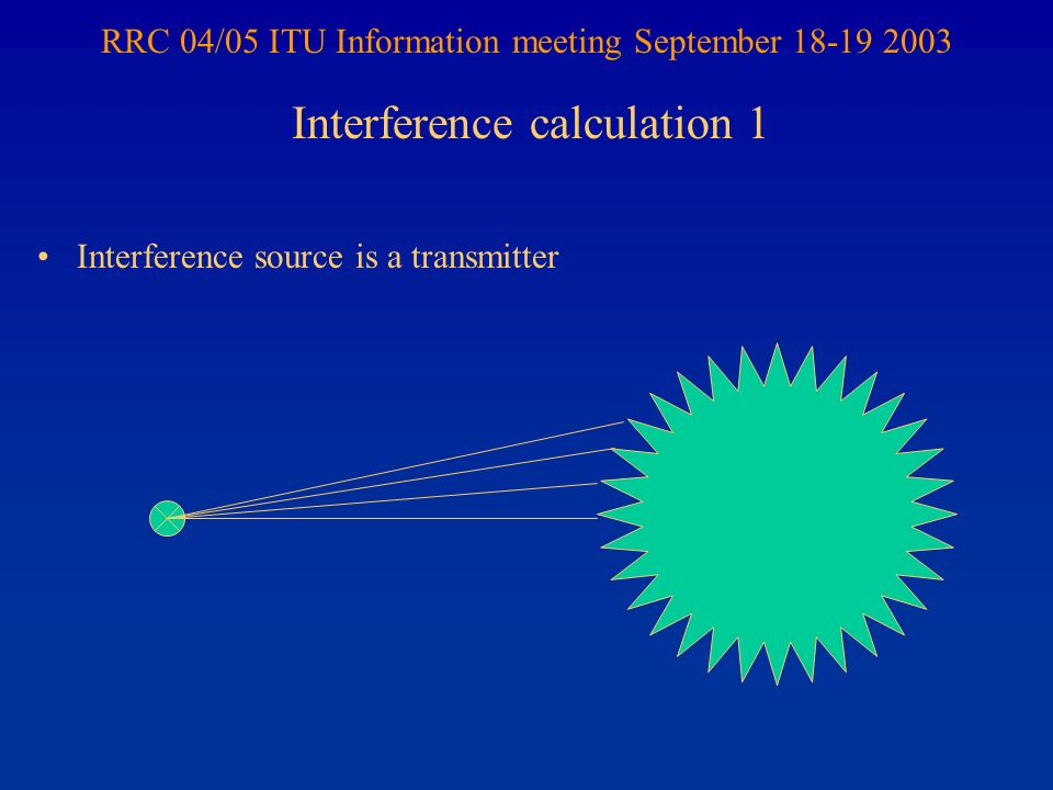 RRC 04/05 ITU Information meeting September 18-19 2003 Interference source is a transmitter Interference calculation 1