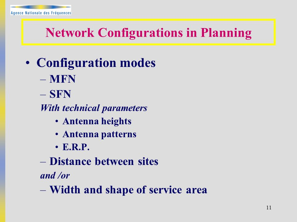 11 Network Configurations in Planning Configuration modes –MFN –SFN With technical parameters Antenna heights Antenna patterns E.R.P.