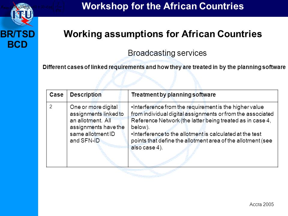 BR/TSD Accra 2005 BCD Workshop for the African Countries Working assumptions for African Countries Broadcasting services Different cases of linked requirements and how they are treated in by the planning software CaseDescriptionTreatment by planning software 2 One or more digital assignments linked to an allotment.