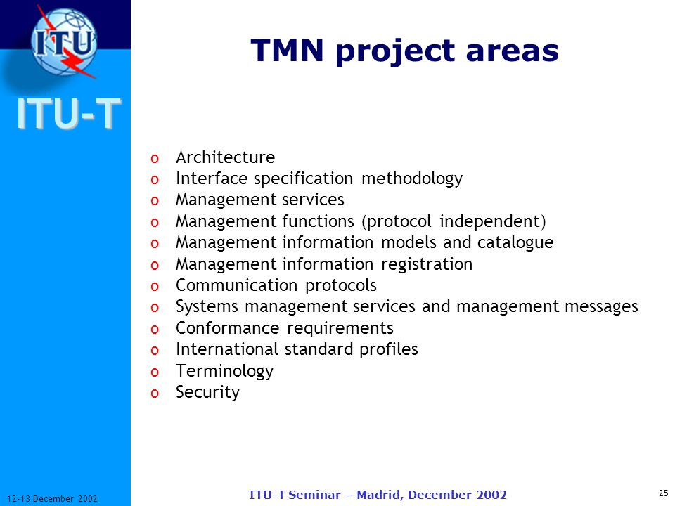 ITU-T 25 12-13 December 2002 ITU-T Seminar – Madrid, December 2002 TMN project areas o Architecture o Interface specification methodology o Management services o Management functions (protocol independent) o Management information models and catalogue o Management information registration o Communication protocols o Systems management services and management messages o Conformance requirements o International standard profiles o Terminology o Security