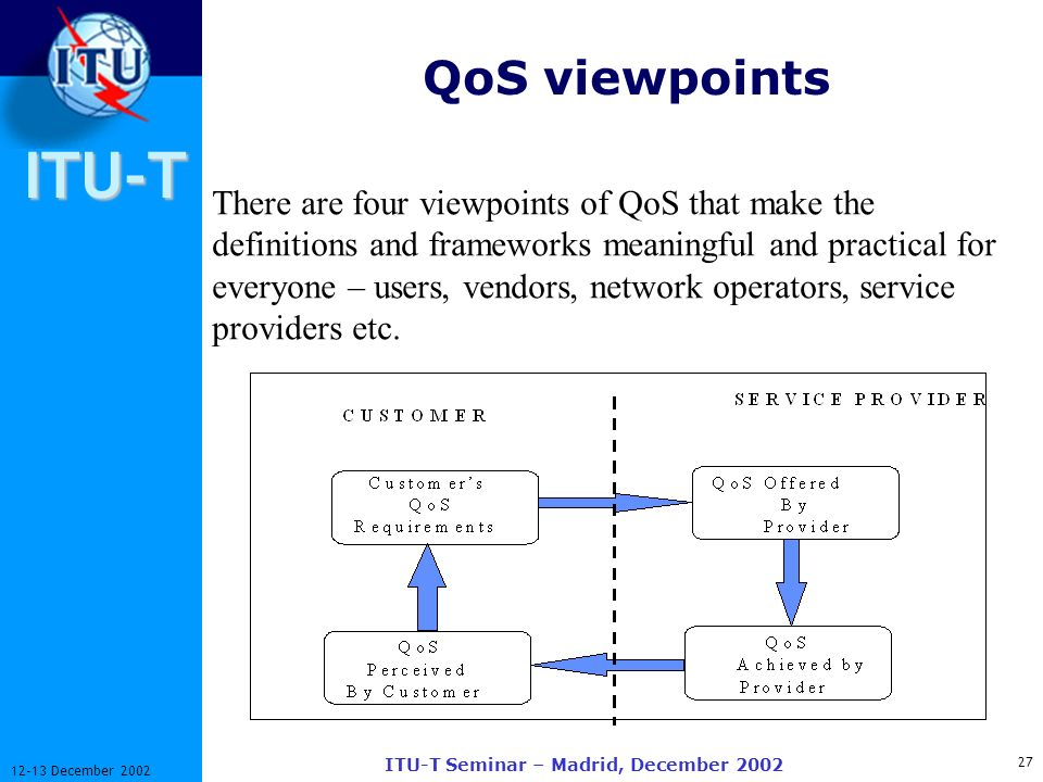 ITU-T 27 12-13 December 2002 ITU-T Seminar – Madrid, December 2002 QoS viewpoints There are four viewpoints of QoS that make the definitions and frameworks meaningful and practical for everyone – users, vendors, network operators, service providers etc.