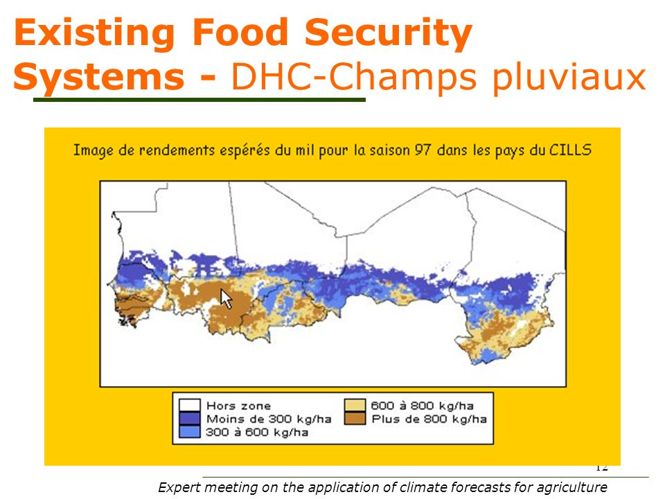 Expert meeting on the application of climate forecasts for agriculture 12 Existing Food Security Systems - DHC-Champs pluviaux