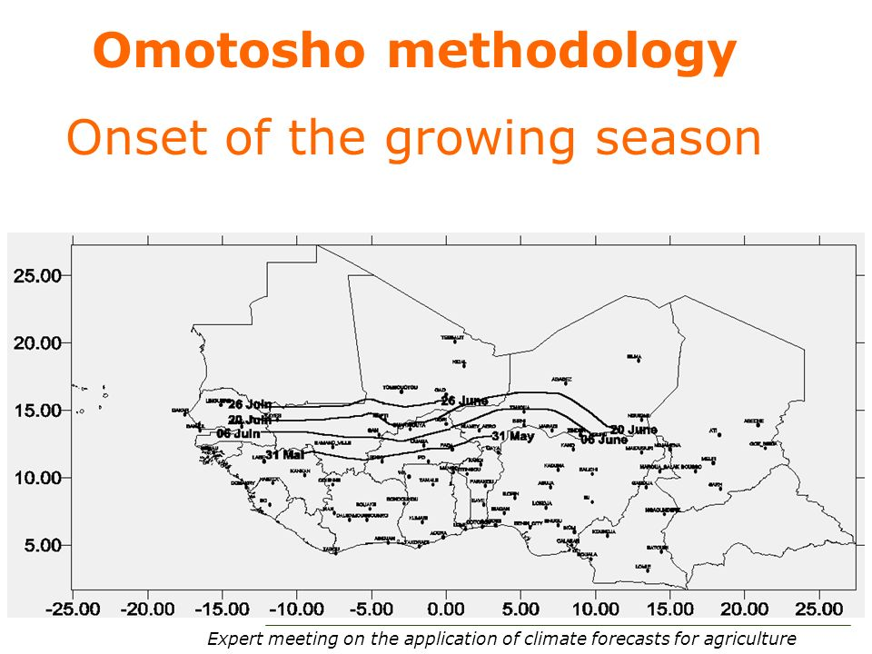 Expert meeting on the application of climate forecasts for agriculture 37 Omotosho methodology Onset of the growing season