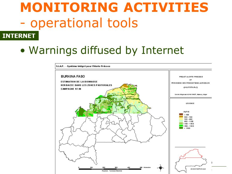 Expert meeting on the application of climate forecasts for agriculture 50 MONITORING ACTIVITIES - operational tools Warnings diffused by Internet INTERNET