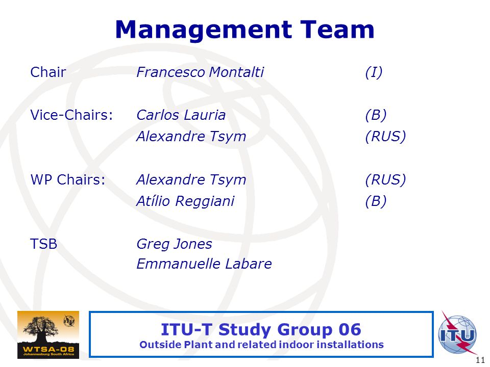 International Telecommunication Union 11 ITU-T Study Group 06 Outside Plant and related indoor installations Management Team ChairFrancesco Montalti(I) Vice-Chairs:Carlos Lauria(B) Alexandre Tsym(RUS) WP Chairs:Alexandre Tsym(RUS) Atílio Reggiani(B) TSBGreg Jones Emmanuelle Labare