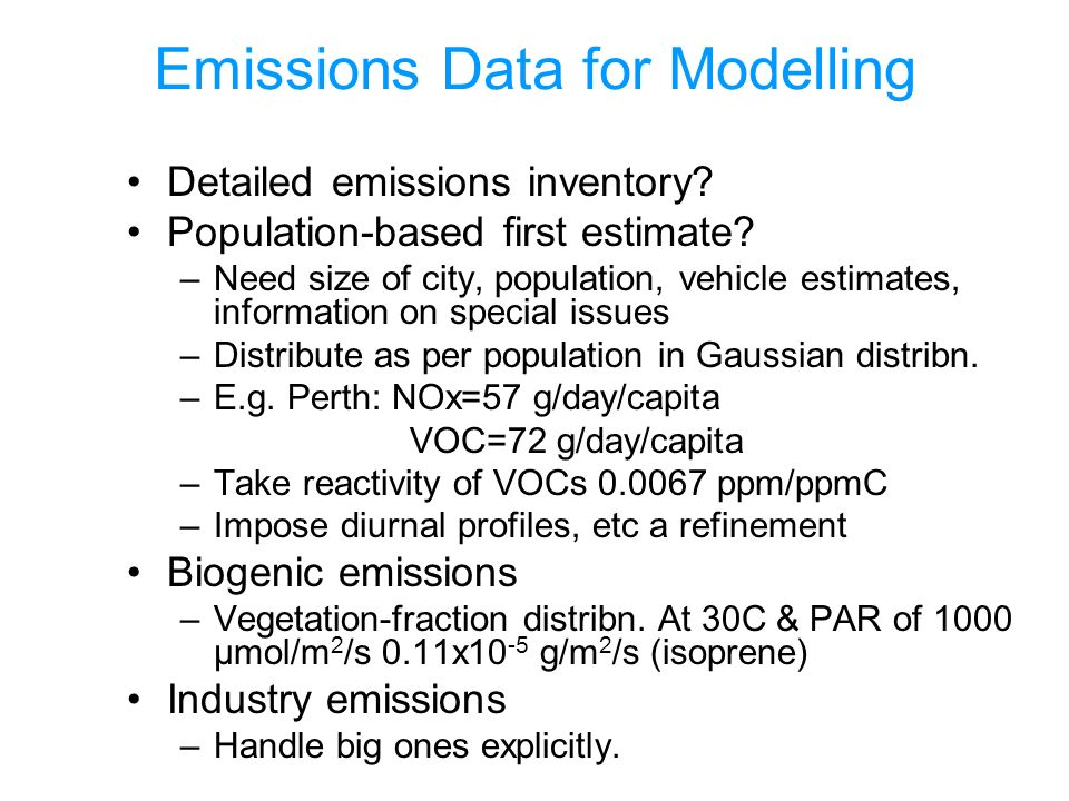 Emissions Data for Modelling Detailed emissions inventory.