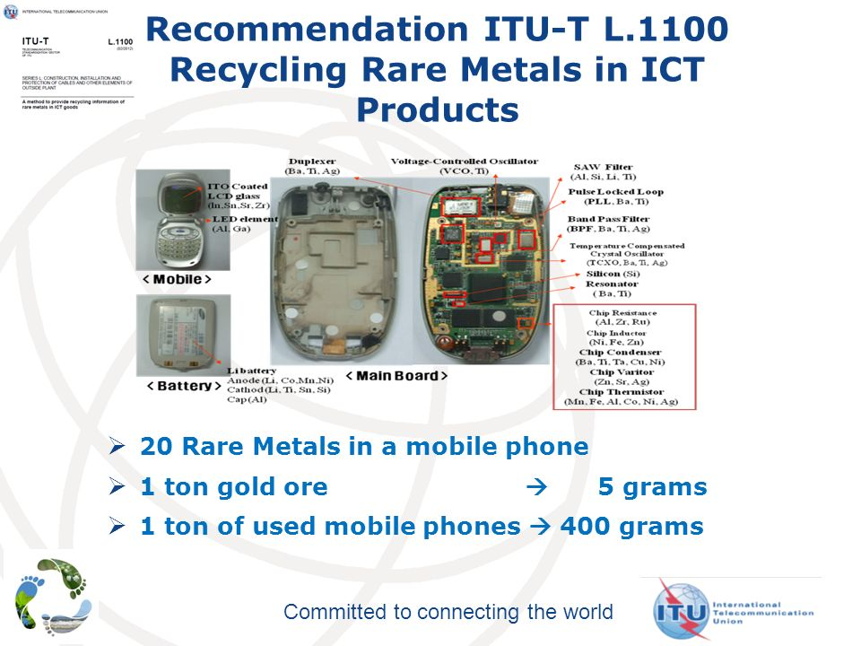 Committed to connecting the world Recommendation ITU-T L.1100 Recycling Rare Metals in ICT Products 20 Rare Metals in a mobile phone 1 ton gold ore 5 grams 1 ton of used mobile phones 400 grams