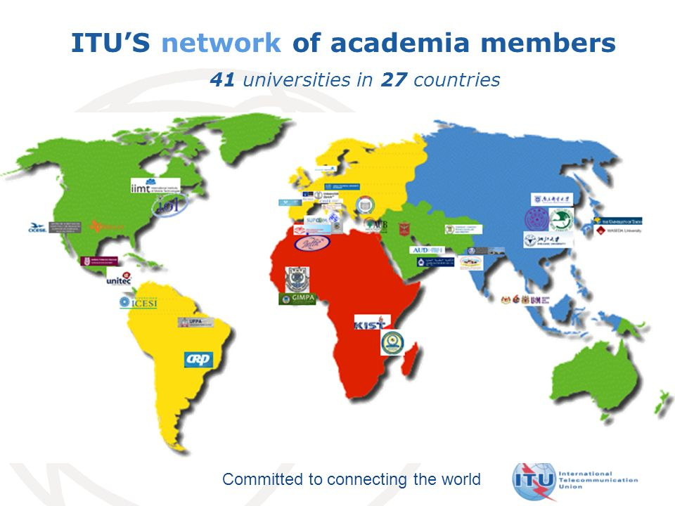 Committed to connecting the world ITUS network of academia members 41 universities in 27 countries