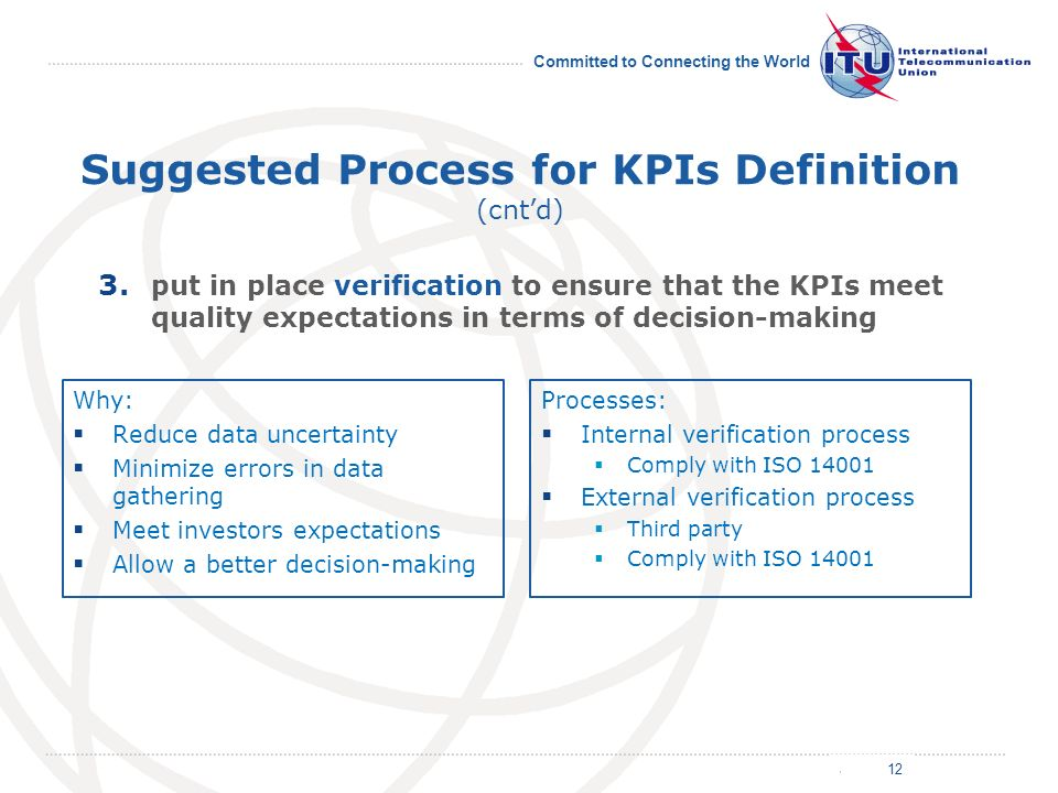 July 2011 Committed to Connecting the World Suggested Process for KPIs Definition (cntd) Why: Reduce data uncertainty Minimize errors in data gathering Meet investors expectations Allow a better decision-making Processes: Internal verification process Comply with ISO 14001 External verification process Third party Comply with ISO 14001 12 3.