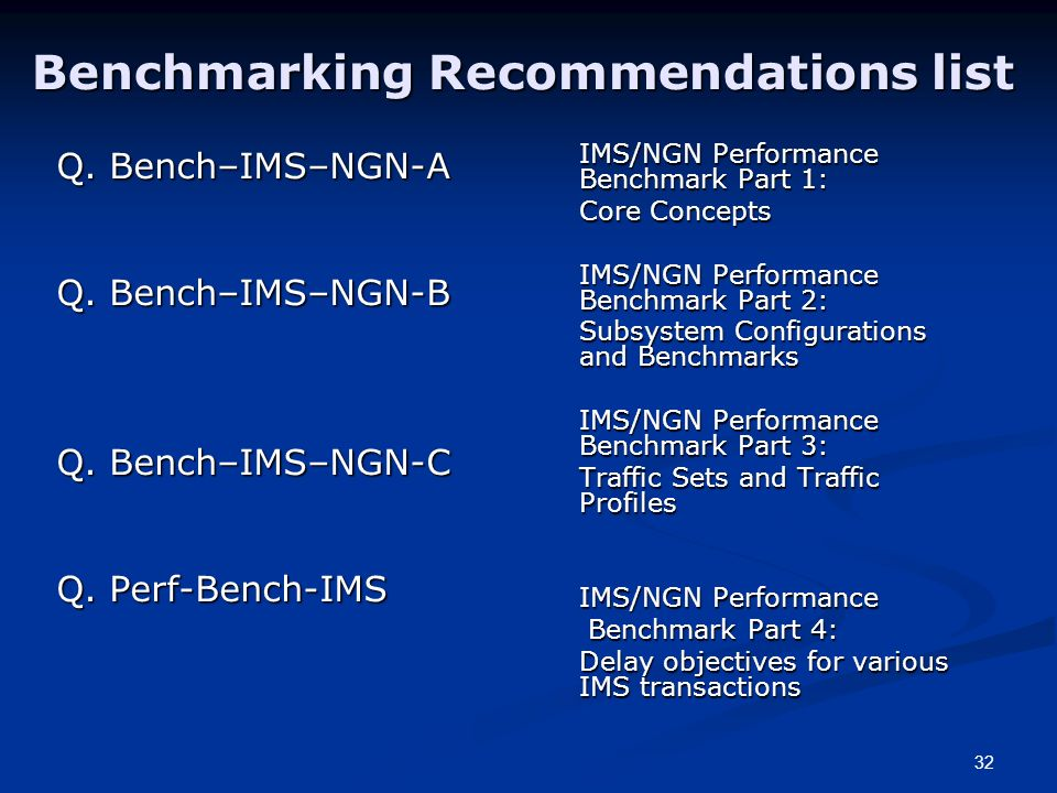 32 Benchmarking Recommendations list Q. Bench–IMS–NGN-A Q.