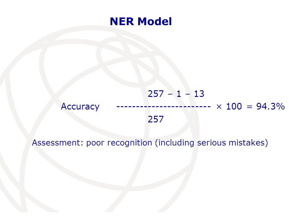 NER Model 257 – 1 – 13 Accuracy ------------------------ × 100 = 94.3% 257 Assessment: poor recognition (including serious mistakes)