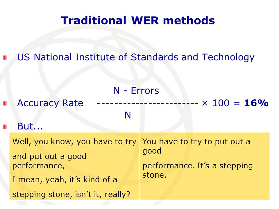 Traditional WER methods US National Institute of Standards and Technology N - Errors Accuracy Rate ------------------------ × 100 = 16% N But...
