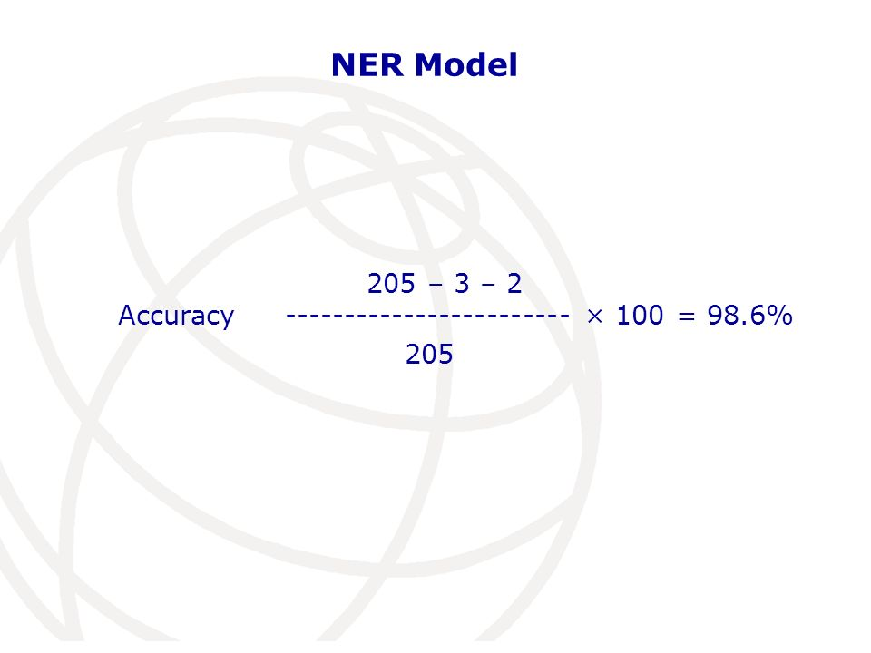 NER Model 205 – 3 – 2 Accuracy ------------------------ × 100 = 98.6% 205