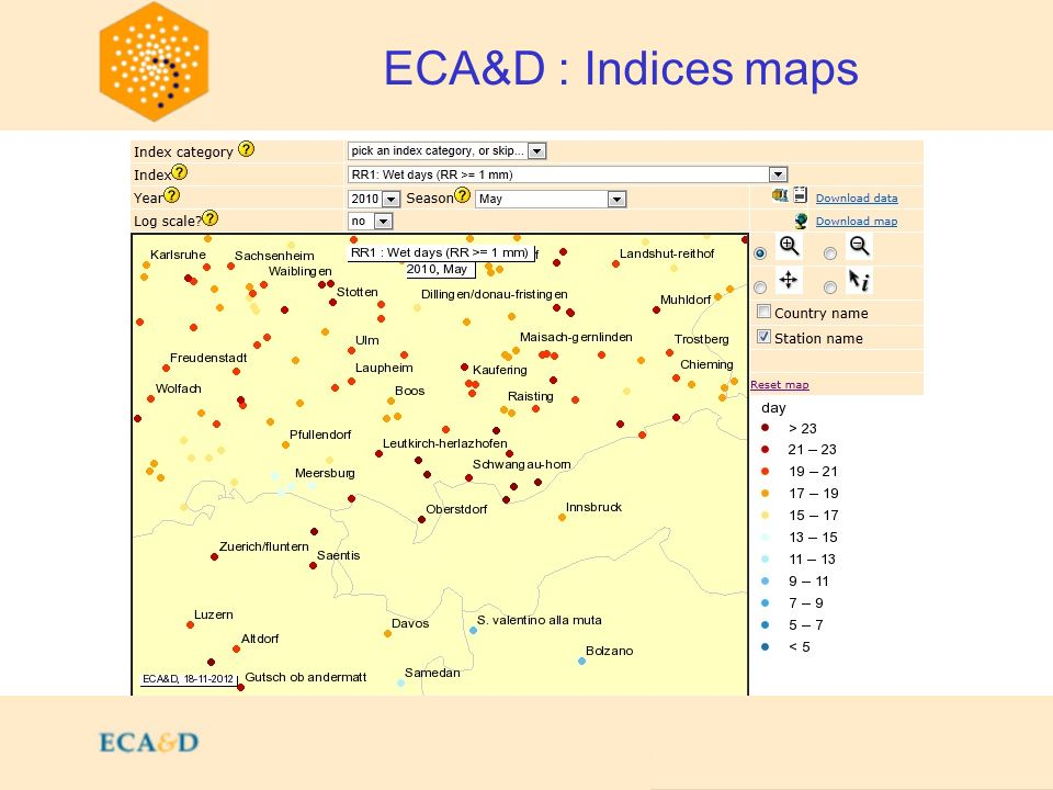 2009 ECA&D : Indices maps
