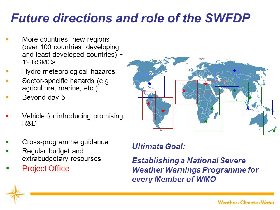 Future directions and role of the SWFDP More countries, new regions (over 100 countries: developing and least developed countries) ~ 12 RSMCs Hydro-meteorological hazards Sector-specific hazards (e.g.