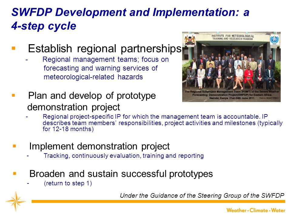 SWFDP Development and Implementation: a 4-step cycle Establish regional partnerships ­Regional management teams; focus on forecasting and warning services of meteorological-related hazards Plan and develop of prototype demonstration project ­Regional project-specific IP for which the management team is accountable.