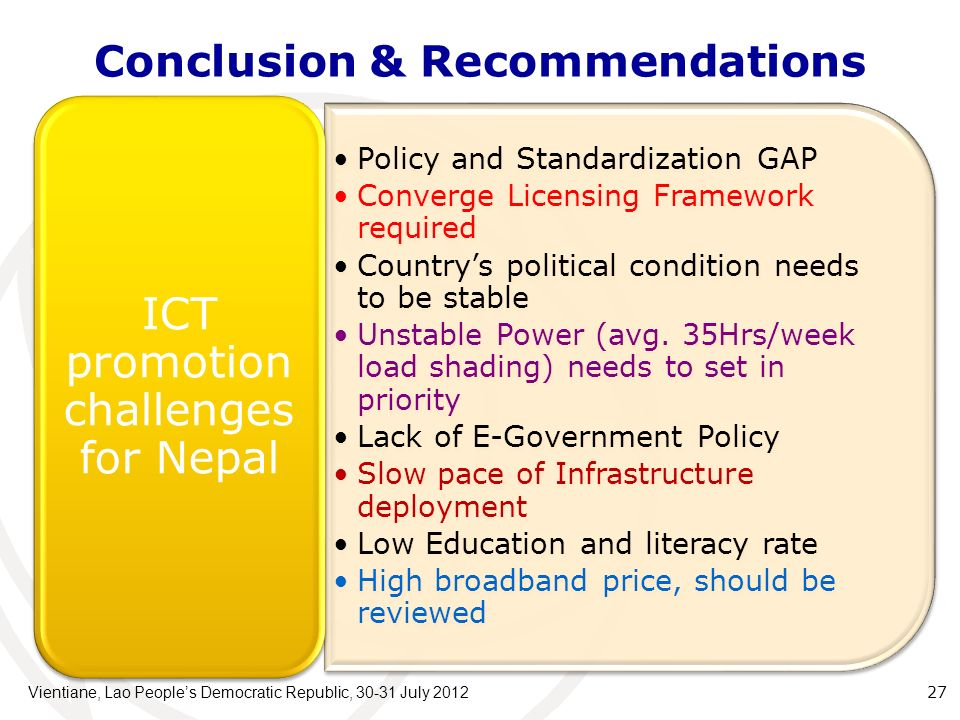 Conclusion & Recommendations Policy and Standardization GAP Converge Licensing Framework required Countrys political condition needs to be stable Unstable Power (avg.