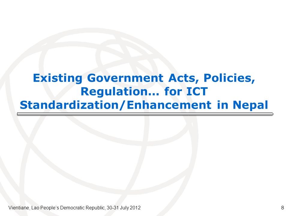 Existing Government Acts, Policies, Regulation...