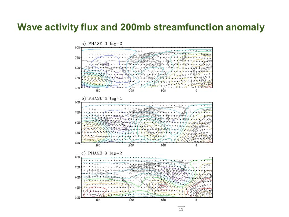 Wave activity flux and 200mb streamfunction anomaly