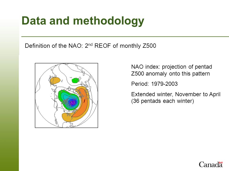 Data and methodology Definition of the NAO: 2 nd REOF of monthly Z500 NAO index: projection of pentad Z500 anomaly onto this pattern Period: 1979-2003 Extended winter, November to April (36 pentads each winter)