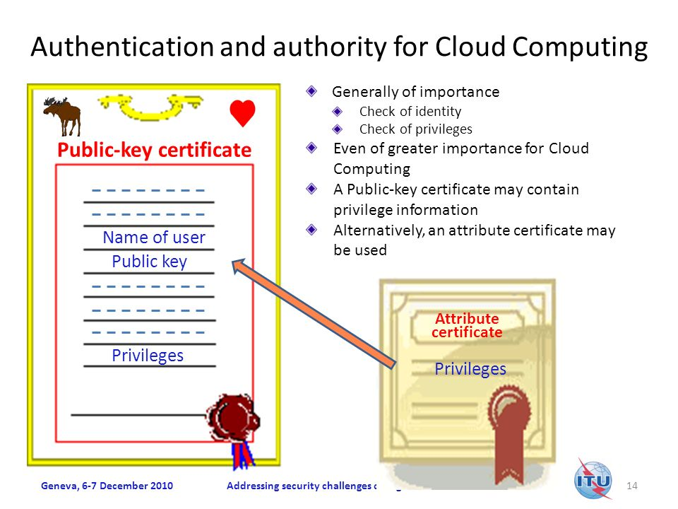 Authentication and authority for Cloud Computing Geneva, 6-7 December 2010Addressing security challenges on a global scale14 Name of user Public key Privileges Generally of importance Check of identity Check of privileges Even of greater importance for Cloud Computing A Public-key certificate may contain privilege information Alternatively, an attribute certificate may be used Public-key certificate Privileges Attribute certificate