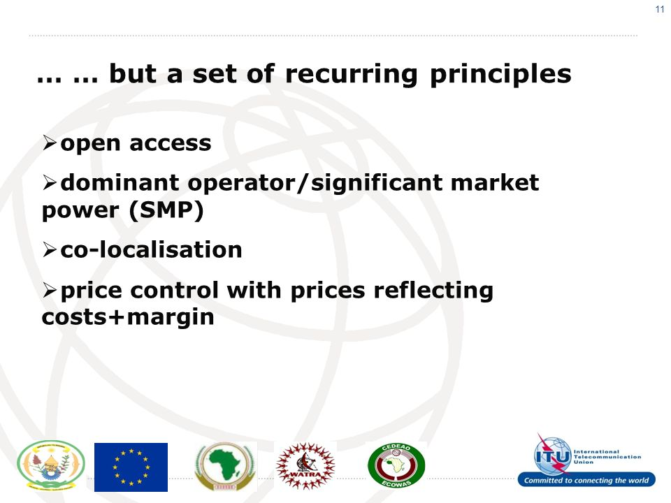 11 … … but a set of recurring principles open access dominant operator/significant market power (SMP) co-localisation price control with prices reflecting costs+margin
