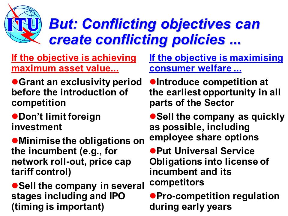 But: Conflicting objectives can create conflicting policies...