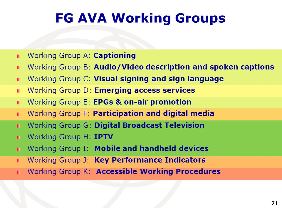 21 International Telecommunication Union FG AVA Working Groups Working Group A: Captioning Working Group B: Audio/Video description and spoken captions Working Group C: Visual signing and sign language Working Group D: Emerging access services Working Group E: EPGs & on-air promotion Working Group F: Participation and digital media Working Group G: Digital Broadcast Television Working Group H: IPTV Working Group I: Mobile and handheld devices Working Group J: Key Performance Indicators Working Group K: Accessible Working Procedures