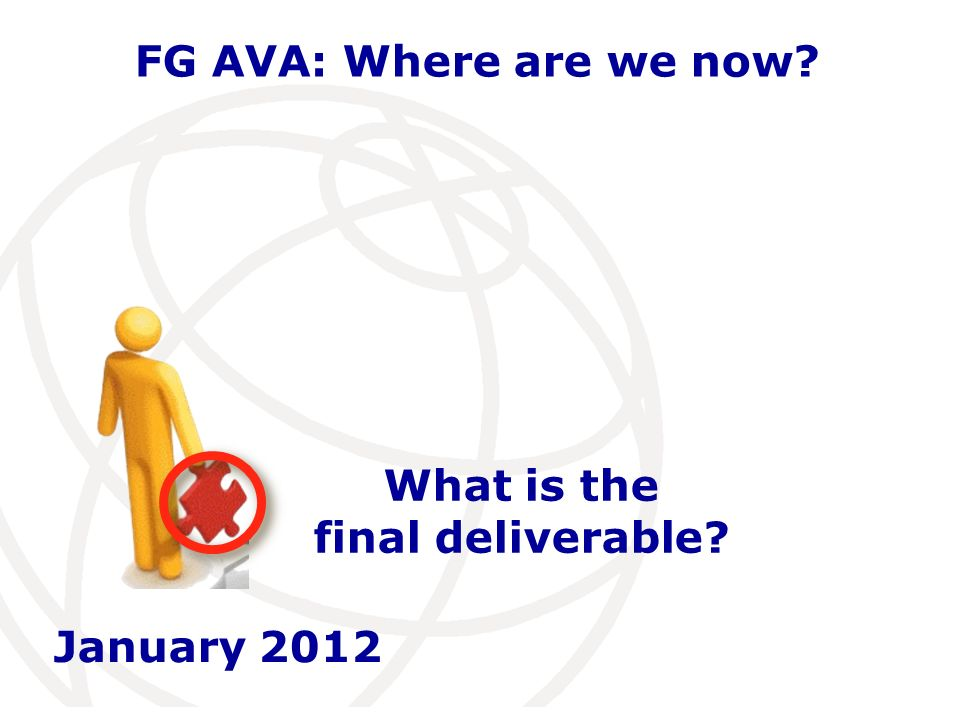 International Telecommunication Union FG AVA: Where are we now.