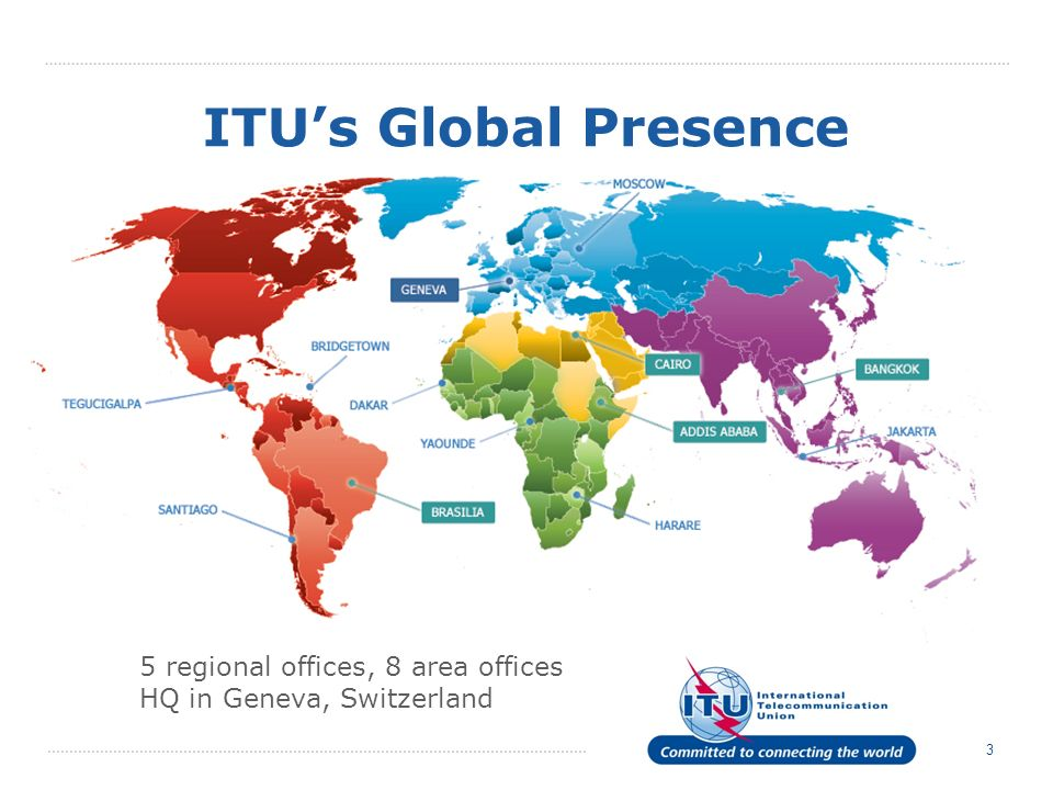 3 ITUs Global Presence 5 regional offices, 8 area offices HQ in Geneva, Switzerland