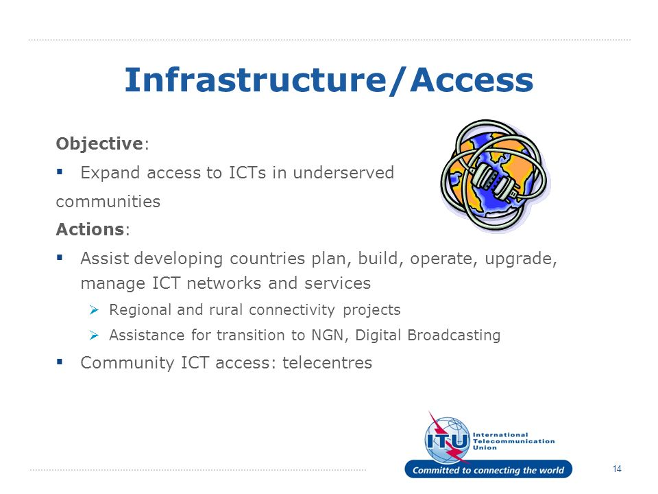 14 Infrastructure/Access Objective: Expand access to ICTs in underserved communities Actions: Assist developing countries plan, build, operate, upgrade, manage ICT networks and services Regional and rural connectivity projects Assistance for transition to NGN, Digital Broadcasting Community ICT access: telecentres