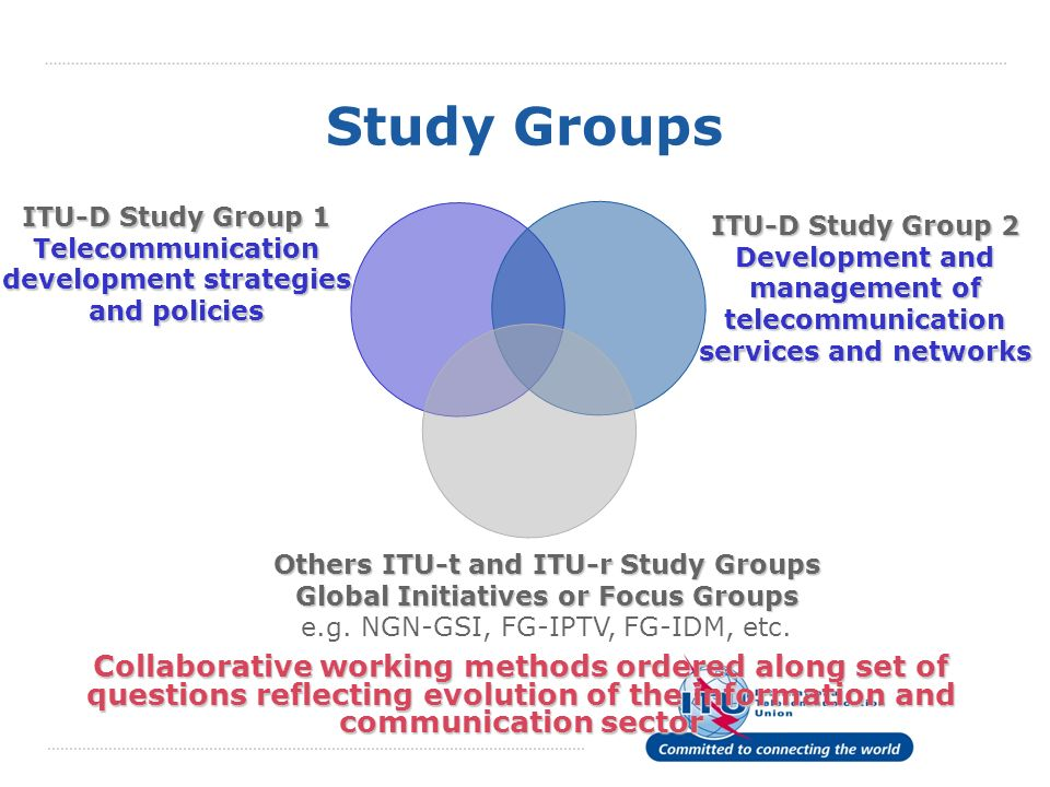 Study Groups Collaborative working methods ordered along set of questions reflecting evolution of the information and communication sector ITU-D Study Group 1 Telecommunication development strategies and policies ITU-D Study Group 2 Development and management of telecommunication services and networks Others ITU-t and ITU-r Study Groups Global Initiatives or Focus Groups Others ITU-t and ITU-r Study Groups Global Initiatives or Focus Groups e.g.