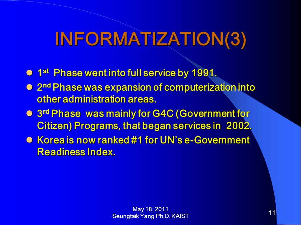 INFORMATIZATION(3) 1 st Phase went into full service by 1991.
