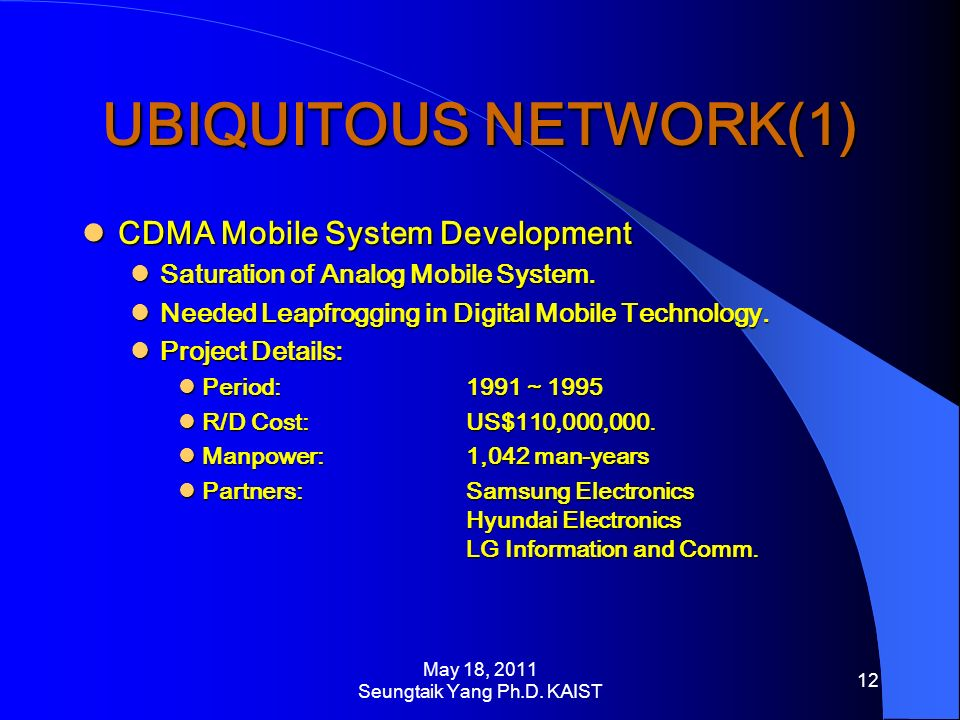 UBIQUITOUS NETWORK(1) CDMA Mobile System Development CDMA Mobile System Development Saturation of Analog Mobile System.