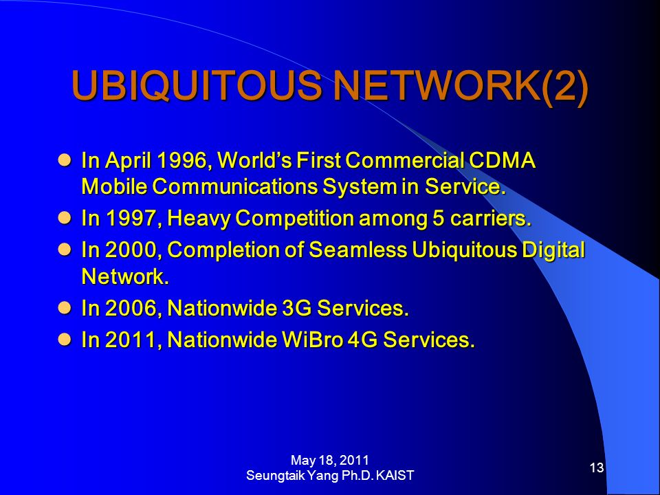 UBIQUITOUS NETWORK(2) In April 1996, Worlds First Commercial CDMA Mobile Communications System in Service.