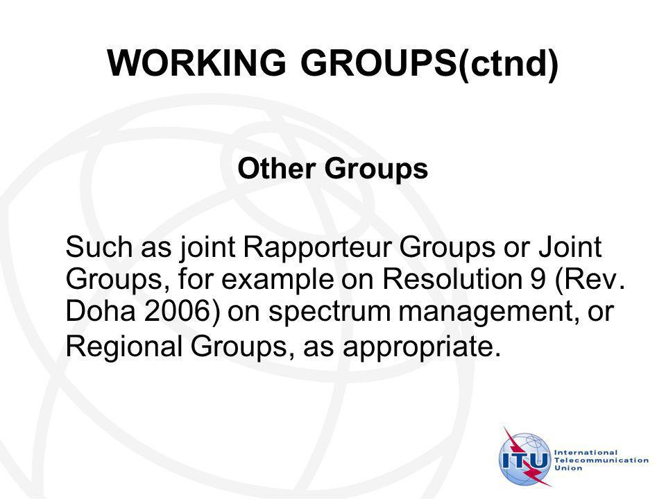 WORKING GROUPS(ctnd) Other Groups Such as joint Rapporteur Groups or Joint Groups, for example on Resolution 9 (Rev.